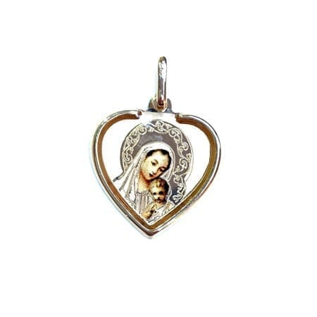 Heart Colored Virgin Mary & Baby Jesus (Made in Italy) Pendant 14K Yellow Gold