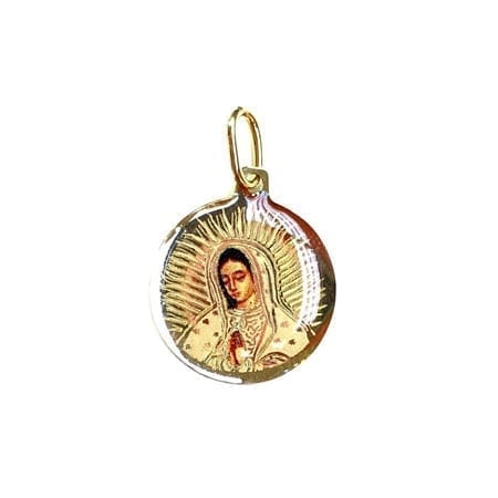 Circle Colord Virgin Mary (Made in Italy) Pendant 14K Yellow Gold