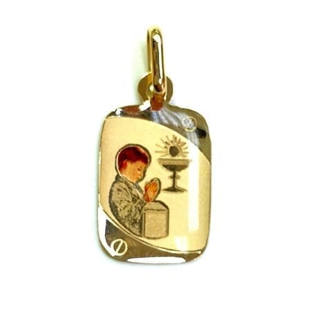 Regtangle Colored Praying Boy For First Communion (Made in Italy) Pendant 14K Yellow Gold