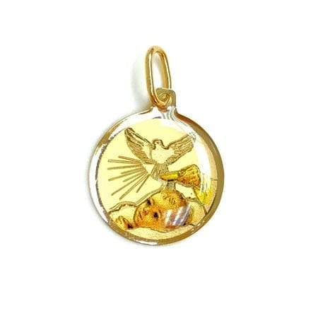 Round Colored Baptism (Made in Italy) Pendant 14K Yellow Gold