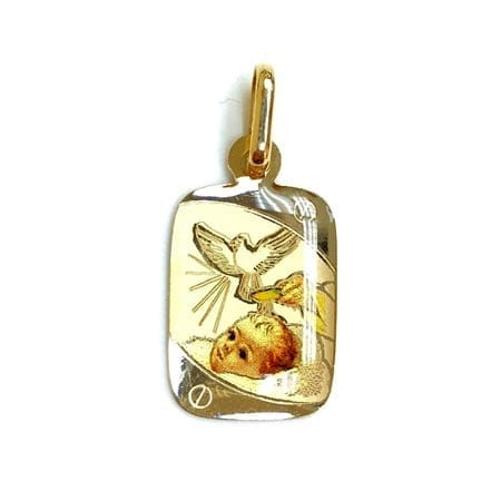 Regtangle Colored Baptism (Made in Italy) Pendant 14K Yellow Gold