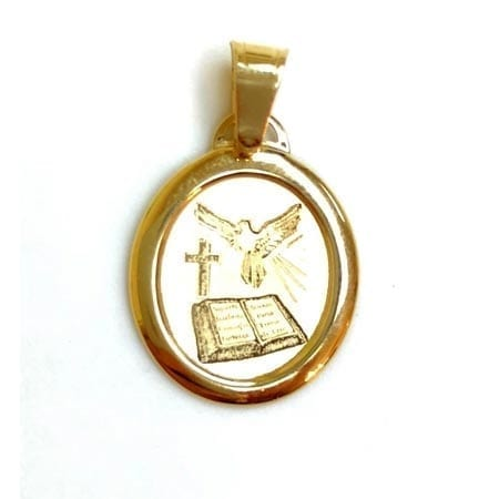 Oval Holy Spirit (Made in Italy) Pendant 14K Yellow Gold