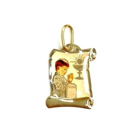 Antique Letter Paper with Colored Praying Boy For First Comminion (Made in Italy) Pendant 14K Yellow Gold