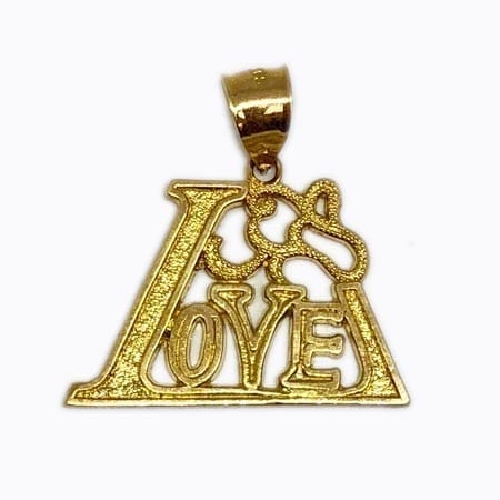 Stunning Design LOVE Pendant 14K Yellow Gold