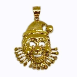 Very Funny Clown Pendant 14K Yellow Gold