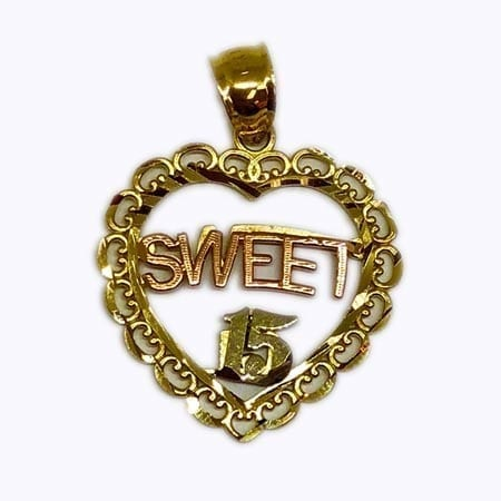 "Very Cute heart Written Rose Gold ""SWEET"" & White Gold ""15 Anos""  Pendant 14K Yellow Gold"