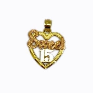 "Heart With Rose Gold ""SWEET"" & White Gold ""15 Anos"" Pendant 14K Yellow Gold"