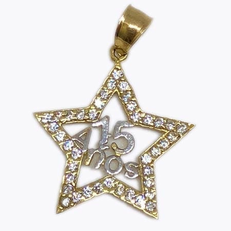 Cubic Zirconia Star Shape With White Gold 15 Anos Pendant 14K Yellow Gold