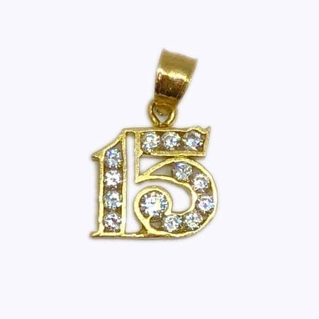 Cubic Zirconia 15 Pendant 14K Yellow Gold
