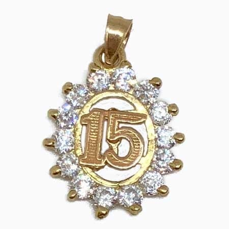 Cubic Zirconia Oval Frame With Rose Gold 15 Anos Pendant 14K Yellow gold
