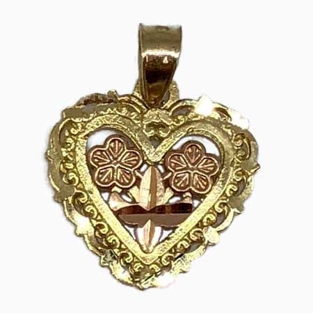 Stunning Design Heart With Rose Gold Flowers Pendant 14K Yellow Gold