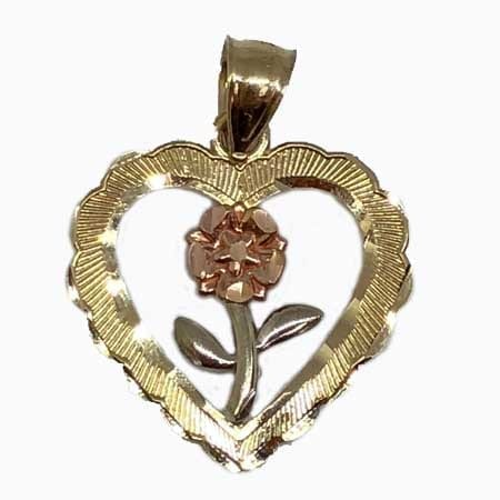 Heart With Rose-White Gold Flower Pendant 14K Yellow Gold