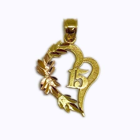 Elegant Design Heart With Rose Gold Leaves & 15 Anos Pendant 14K Yellow Gold