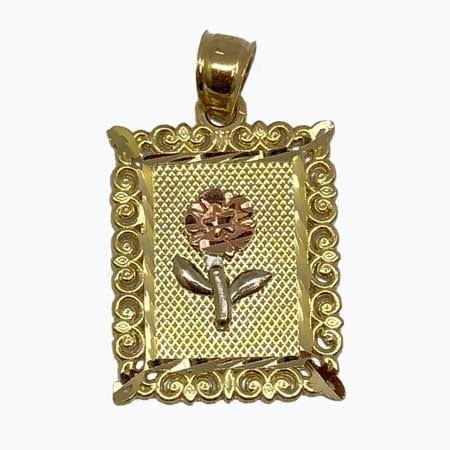 Elegant Frame With Rose-White Gold Flower Pendant 14K Yellow Gold