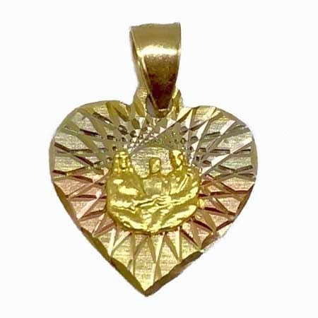 Heart With 3 Tone Gold & Family Portrait Pendant 14K Gold