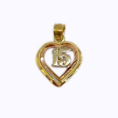 Heart Inside Rose Gold Heart & White Gold 15 Anos 14K Yellow Gold