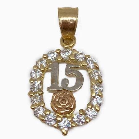 Cubic Zirconia With Rose Gold Flower & White Gold 15 Anos Pendant 14K Yellow Gold
