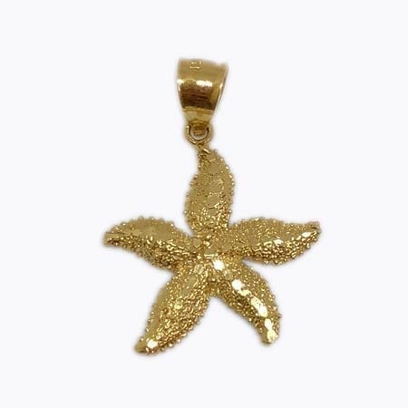 Shiny Starfish Pendant 14K Yellow Gold