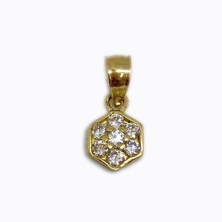 Hexagon Shape Cubic Zirconia Pendant 14K Yellow Gold