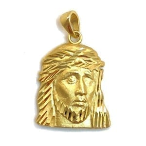 Jesus Face Pendant 14K Yellow Gold