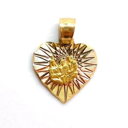 Jesus, Mary & Joseph 3-tone Pendant in 14K Gold