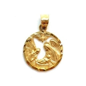 14K Gold Two-Tone Praying Virgin Mary Pendant