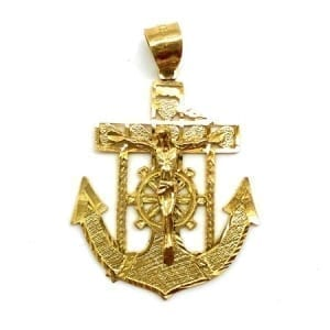 Anchor with Jesus Pendant 14K yellow Gold