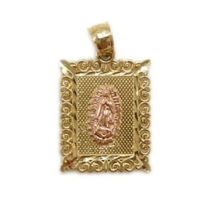 Stunning Frame with Rose Gold Virgin Mary Pendant 14K Yellow Gold