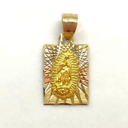 Three-Tone Virgin Mary Pendant 14K Gold