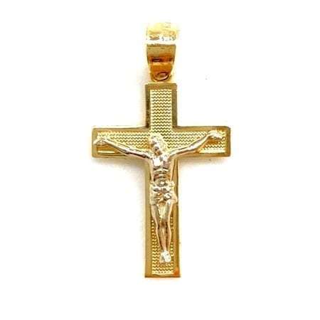 Classic Two-Tone Cross with Jesus Pendant 14K Gold