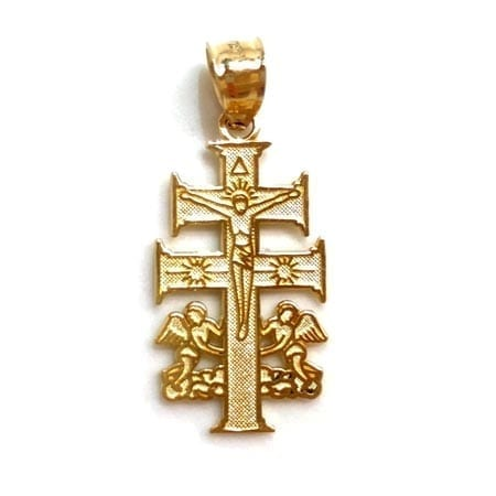 Modern Cross with Jesus & Angeles Pendant 14K Yellow Gold
