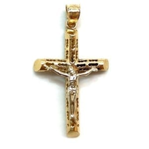 Two-Tone Elegant Design Cross with Jesus Pendant 14K Gold