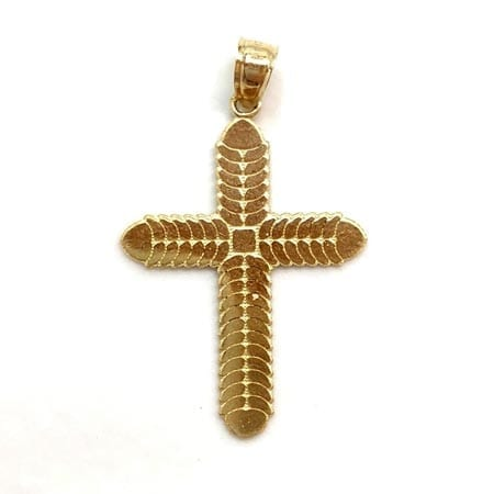 Modern Design Cross Pendant 14K Yellow Gold