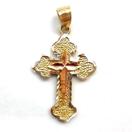 Three-Tone Modern Design Cross Pendant14K Gold