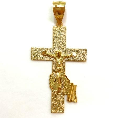 Modern Design Cross with Jesus Pendant 14K Yellow Gold