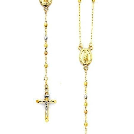 Disco Balls Rosary Necklace 14K Three-Tone Gold With Virgin Mary And Cross With Jesus Two-Tone