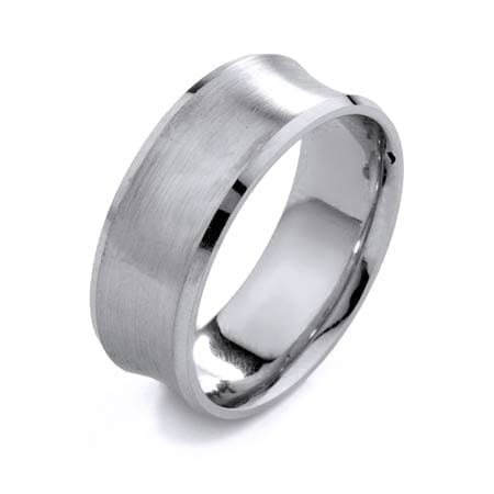 Modern Design High Quality Finishing Solid Fashion Wedding Band 14K White Gold 8MM Wide By 1.6MM Thick