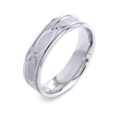 Modern Ovals Design High Quality Finishing Solid Fashion Wedding Band 14K White Gold 6MM Wide By 1.6MM Thick