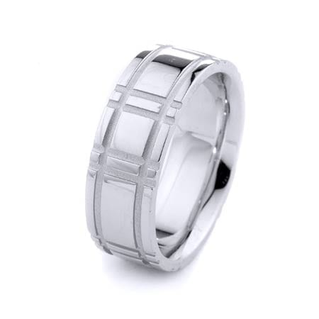 Modern Ekose Design High Quality Finishing Solid Fashion Wedding Band 14K White Gold 8MM Wide By 2.20MM Thick