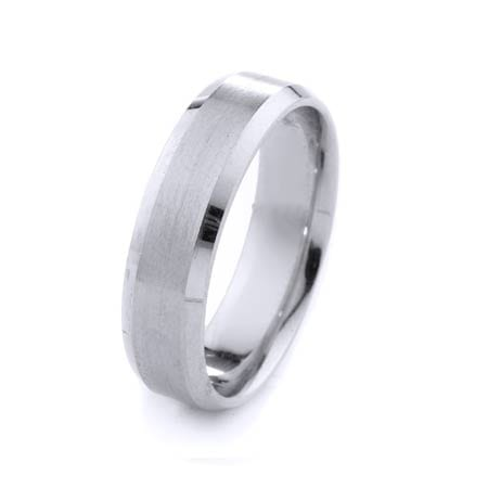 Modern Design High Quality Finishing Solid Fashion Wedding Band 14K White Gold  6MM Wide By 1.60MM Thick