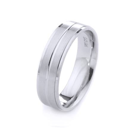 Modern Three Lines Design High Quality Finishing Solid Fashion Wedding Band 14K White Gold 6MM Wide By 1.60MM Thick