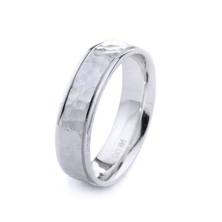 Modern Hammer Design High Quality Finishing Solid Fashion Wedding Band 14K White Gold 6MM Wide By 1.60MM Thick
