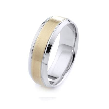 Two-Tone Modern Design High Quality Finishing Solid Fashion Wedding Band 14K White & Yellow Gold 6MM Wide By 1.60MM Thick