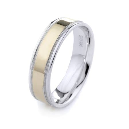 Two-Tone Modern & Milgrain Design High Quality Finishing Solid Fashion Wedding Band 14K White & Yellow Gold 6MM Wide By 1.60MM Thick