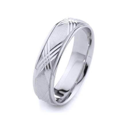 Modern X Design High Quality Finishing Solid Fashion Wedding Band 14K White Gold 6MM Wide By 1.60MM Thick