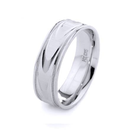 Modern Wavy Lines & Milgrain Design High Quality Finishing Solid Fashion Wedding Band 14K White Gold 7MM Wide By 1.60MM Thick