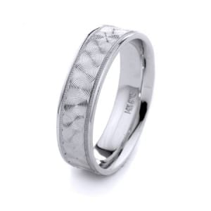 Modern Circles Design High Quality Finishing Solid Fashion Wedding Band 14K White Gold 6MM Wide By 1.60MM Thick