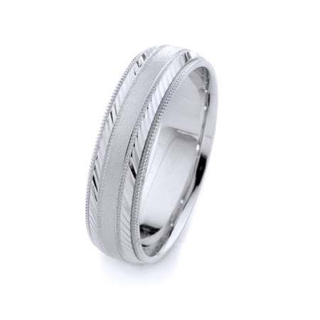 Modern Two Lines Diagonal & Milgrain Design High Quality Finishing Solid Fashion Wedding Band 14K White Gold 6MM Wide By 1.60MM Thick