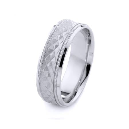 Modern & Milgrain Design High Quality Finishing Solid Fashion Wedding Band 14K White Gold 7MM Wide By 1.60MM Thick
