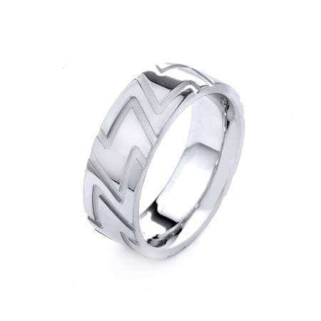 Modern Design High Quality Finishing Solid Fashion Wedding Band 14K White Gold 6MM Wide By 2.20MM Thick